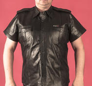 Short-sleeved leather shirt