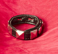 Leather Cock Ring with Pyramid Studs