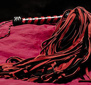 Long Red/Black suede whip - 144-tailed