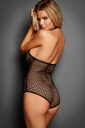 Fishnet Zip Front Halter Teddy